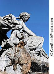著名的雕像, 在, lyon, 城市