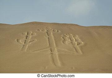著名, 圖, candelabum, 在, 秘魯