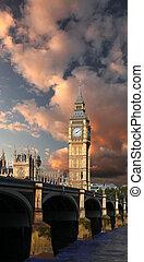 著名, 大本鐘, 在, 倫敦, england