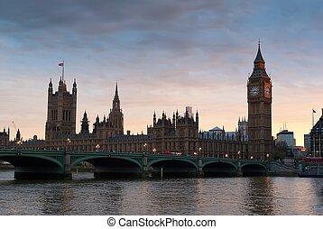 著名, 大本鐘, 在, the, 晚上, 由于, 橋梁, 倫敦, england