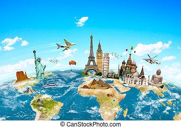著名, 紀念碑, ......的, 世界, 圍攏, 行星地球
