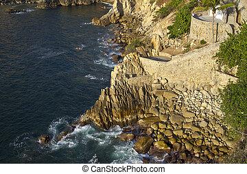 著名, 跳水, 懸崖, la quebrada, 在, acapulco, 墨西哥