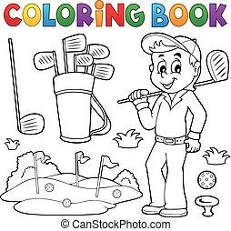 著色書, 由于, 高爾夫球, 主題