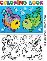 著色書, 由于, fish, 主題, 2
