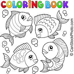 著色書, 由于, fish, 主題, 4