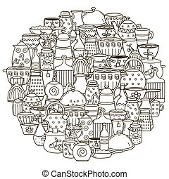著色, 盤, 圖案, 形狀, 書, 環繞