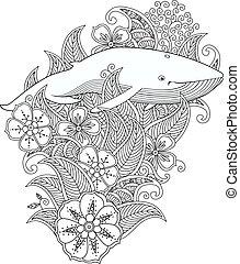著色, 頁, 由于, 鯨魚, 在, 花, 以及, 葉子, 被隔离, 在懷特上, 背景。