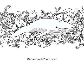 著色, 頁, 由于, 鯨魚, 在, the, 海, 上, 花, 邊框, 背景。