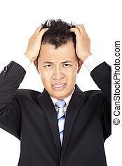著重強調, 年輕, 亞洲人, 商人, 由于, 頭疼, 在懷特上
