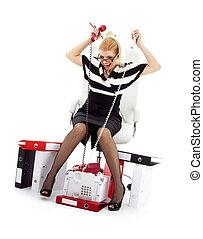 著重強調, 從事工商業的女性, 在椅子里, 在上方, 白色, #2
