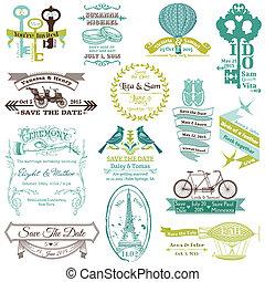 葡萄收获期, 婚礼, -, 收集, 矢量, 邀请, 剪贴簿, 设计
