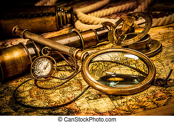 葡萄收获期, 放大镜, 躺, 在上, 一, 古代, 世界地图