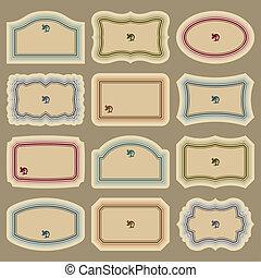 葡萄收获期, 标签, 放置, (vector), 空白