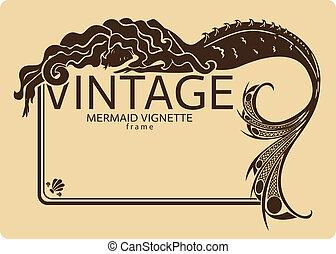 葡萄收获期, 框架, 美人鱼, 葡萄饰