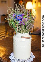 葡萄收获期, 花, retro, 瓶