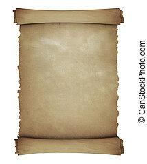 葡萄收获期, -, 隔离, 卷, 白色, 羊皮纸