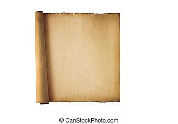 葡萄收获期, 隔离, 卷, 背景, 白色, 羊皮纸
