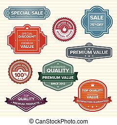 葡萄收获期, retro, 标签, 在中, 各种各样, 颜色