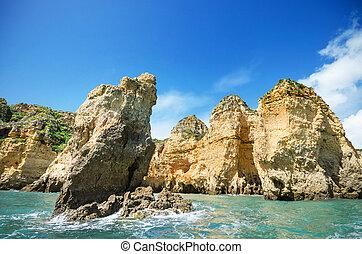 葡萄牙, 拉各斯, 風景, 海岸線, algarve, 風景, 看法