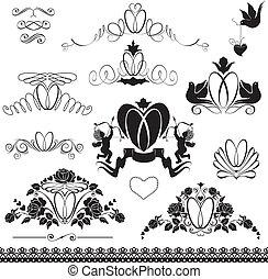 葡萄酒, 元素, 戒指, -, 二, calligraphic, 邀請, 設計, 裝飾, 婚禮, 黑色, version., 裝飾品, 白頁