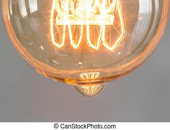 葡萄酒, 光, 向上, 發光, 燈泡, 關閉