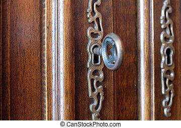葡萄酒, 在中的鑰匙, 美麗, 木制的門, -, 家具