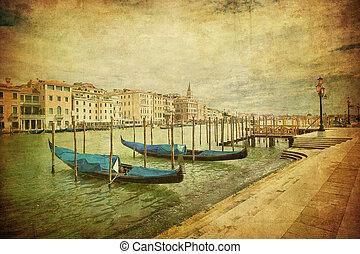 葡萄酒, 威尼斯, 運河, 圖像, 盛大