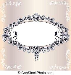 葡萄酒, 婚禮, 框架, 由于, 鳥