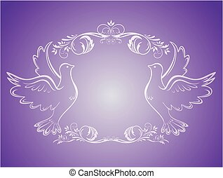 葡萄酒, 婚禮, 框架, 由于, 鴿子