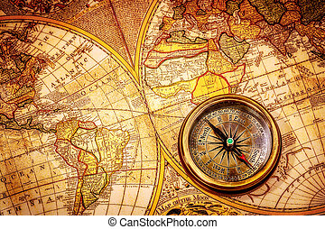 葡萄酒, 指南針, 躺, 上, an, 古老, 世界, map.