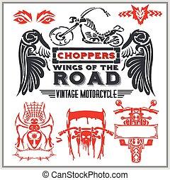葡萄酒, 摩托車, 標籤, 徽章, 以及, 設計元素, -, 矢量, set.