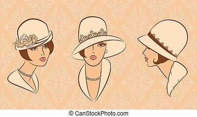 葡萄酒, 時裝, 女孩, 在, hat.