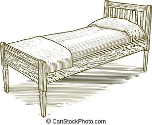 葡萄酒, 木刻, 床