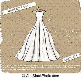 葡萄酒, 海報, 由于, 美麗, 婚禮, dress.