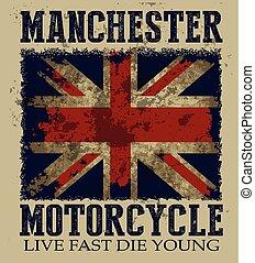 葡萄酒, 矢量, 插圖, 上, the, 主題, ......的, the, 英國人, 摩托車, 在, manchester., 英國人, flag., grunge, 背景。, 路, trip., 騎自行車的人, 印刷術, t恤衫, 圖像, 海報, 旗幟, 飛行物, 以及, 明信片
