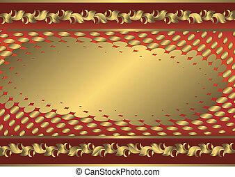 葡萄酒, 紅色, 以及, 黃金, 卡片