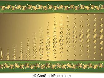 葡萄酒, 綠色, 以及, 黃金, 卡片, (vector)