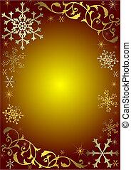 葡萄酒, 聖誕節, 背景, 由于, 黃金, 以及, 銀色, 雪花