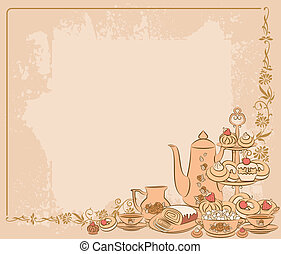 葡萄酒, 茶具, 以及, 甜, 蛋糕