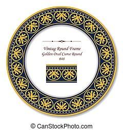 葡萄酒, 輪, retro, 框架, ......的, 黃金, 橢圓形, 曲線, 輪, 點, 線