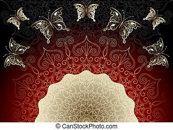 葡萄酒, 金, 以及, black-red, 框架