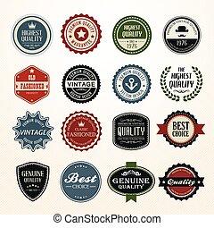 葡萄酒, 集合, retro, 徽章