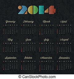 葡萄酒, 風格, 設計, retro, 日曆
