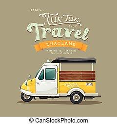 葡萄酒, 黃色, 馬達, 三輪車