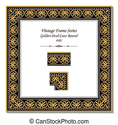 葡萄酒, 3d, 框架, ......的, 黃金, 橢圓形, 曲線, 輪