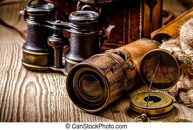 葡萄酒, grunge, 仍然, life., 古董, 項目, 上, 木製的桌子