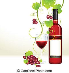 葡萄, 带, 酒瓶子, 同时,, 玻璃
