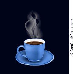 蒸気, コーヒーカップ, 青