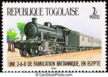 蒸気, 英国, egypt., スタイル, 横列, 古い, 自動車, 機関車, 作られた, 使われた, behind...