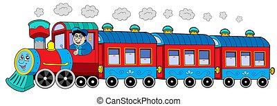 蒸汽, 機車, 由于, 引擎, 駕駛員, 以及, 貨車